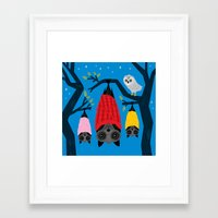 blankets Framed Art Prints featuring Bats in Blankets by Oliver Lake