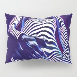 1813s-AK Sensual Blue Nude in Window Blind Stripes Pillow Sham