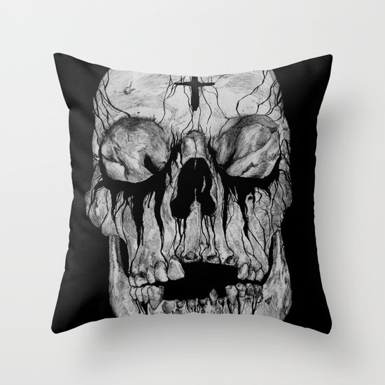 Black blooded Throw Pillow
