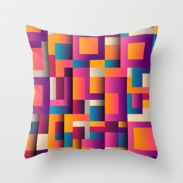 Abstract Background Geometry Blocks Squares Throw Pillow