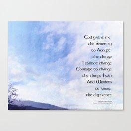 Serenity Prayer Blue Sky Gentle Clouds Canvas Print