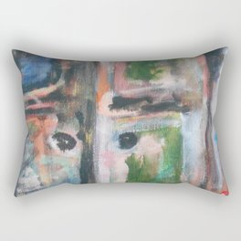 Door to heaven - colorful, gentle, rustic, acrylic, abstract art piece Rectangular Pillow