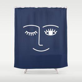 Wink / Navy Shower Curtain