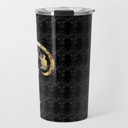 Abstract floral ornament in black and gold colors Travel Mug
