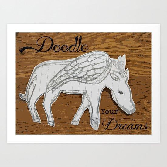 """""""What Dreams May Come"""" - Doodle Pegasus & Wood Grain Pop Art Art Print"""