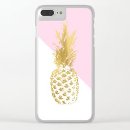 Pink white colorblock gold geometrical pineapple Clear iPhone Case