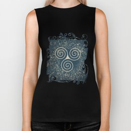 Triskelion Golden Three Spiral Celtic Symbol Biker Tank