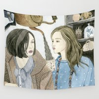 lolita Wall Tapestries featuring Just Between Us Girls by Yuliya