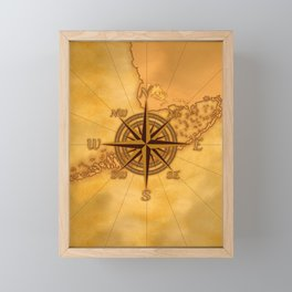 Antique Style Compass Rose Framed Mini Art Print