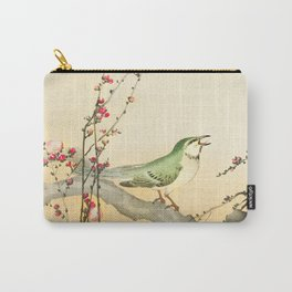 Songbird on peach tree - Vintage Japanese Woodblock Print Art Carry-All Pouch