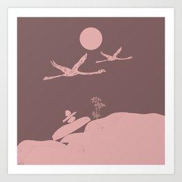 Earthy Flamingo Love Couple Art Print