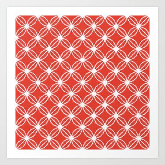 Abstract Circle Dots Red Art Print