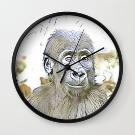 fascinating altered animals - Gorilla Baby Wall Clock