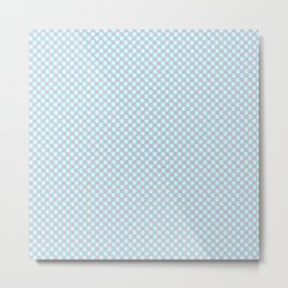 Tiny Paw Prints - Pink & White on Turquoise Blue Metal Print