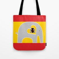 spanish Tote Bags featuring Spanish Elephant by Elephant Love