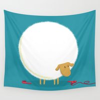 sheep Wall Tapestries featuring Fluffy Sheep by Picomodi