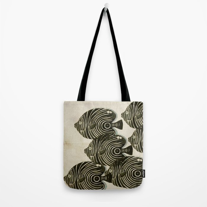Shoal of Black Fish Tote Bag