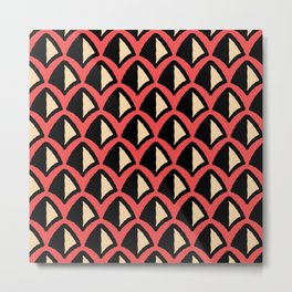 Classic Hollywood Regency Pyramid Pattern 223 Red Beige and Black Metal Print
