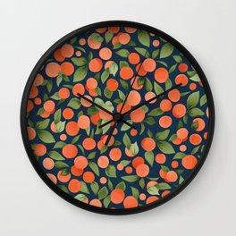Midnight Oranges Wall Clock