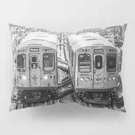 Black and White Chicago Train El Train above Wabash Ave the Loop Windy City Pillow Sham
