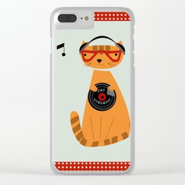 the cat loves good music Clear iPhone Case