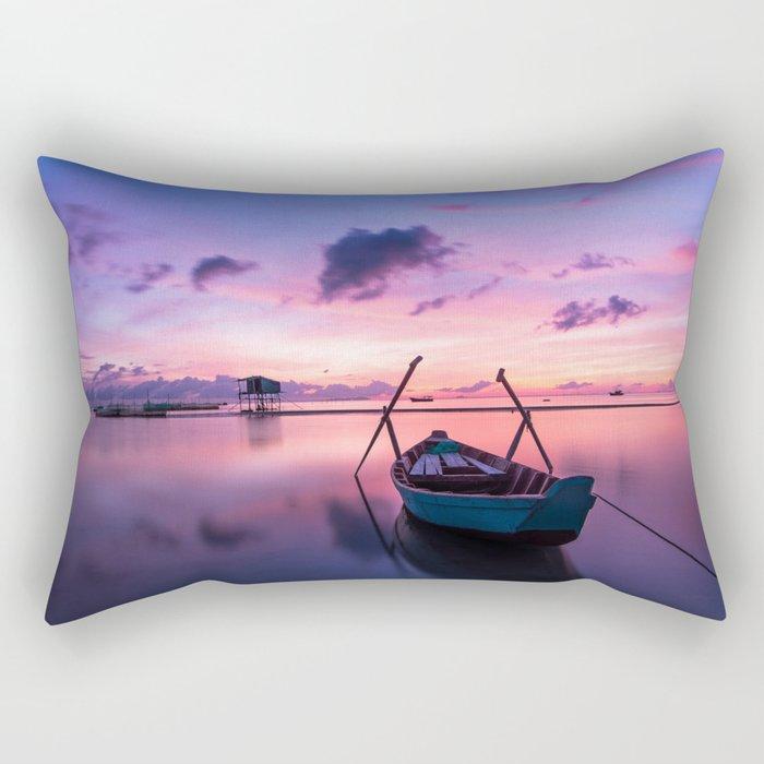 Boat and Sunrise Rectangular Pillow