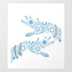 Blue Mehndi Art Print