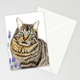 Tabby Cat in Lavender Stationery Cards