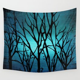 Teal Branch Trees Wall Tapestry
