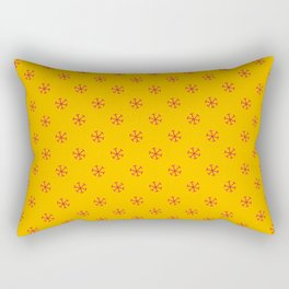 Crimson Red on Amber Orange Snowflakes Rectangular Pillow