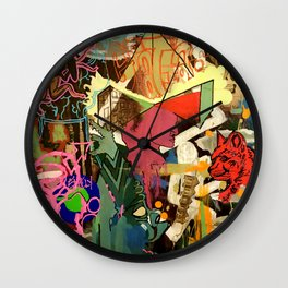 Red Cat Pizza Box Wall Clock