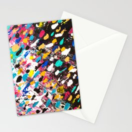 Abstract bright colorful pink purple multicolor rainbow polka dots acrylic painting Stationery Cards