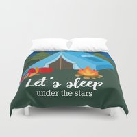 backpack Duvet Covers featuring Camping blue tent by Juliana RW