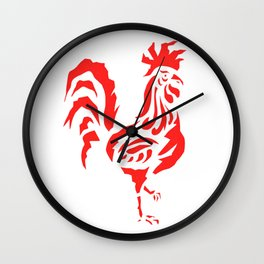Cock a doodle doo, red cockerel rooster bird screen print Wall Clock