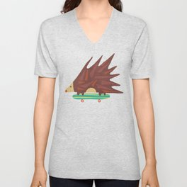 Hedgehog in hair raising speed Unisex V-Neck