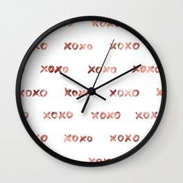 XOXO Fashion Love Rose Gold Pattern Wall Clock