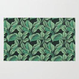 Exotic Tropical Banana Palm Leaf Print Rug
