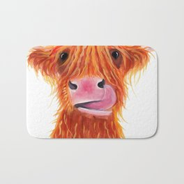 Scottish Highland Cow ' GaRLiC ' by Shirley MacArthur Bath Mat