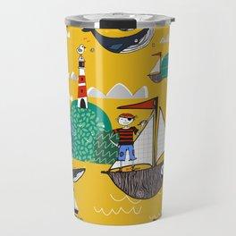 Pirates Ahoy Yellow Travel Mug