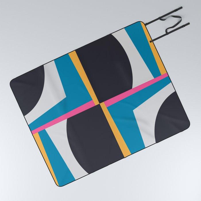 Modern Geometric 65 Blue Picnic Blanket
