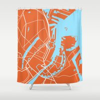 copenhagen Shower Curtains featuring Copenhagen Map by Studio Tesouro