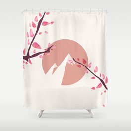 Mount Fuji Japan Sakura Tree Cherry Blossom Shower Curtain