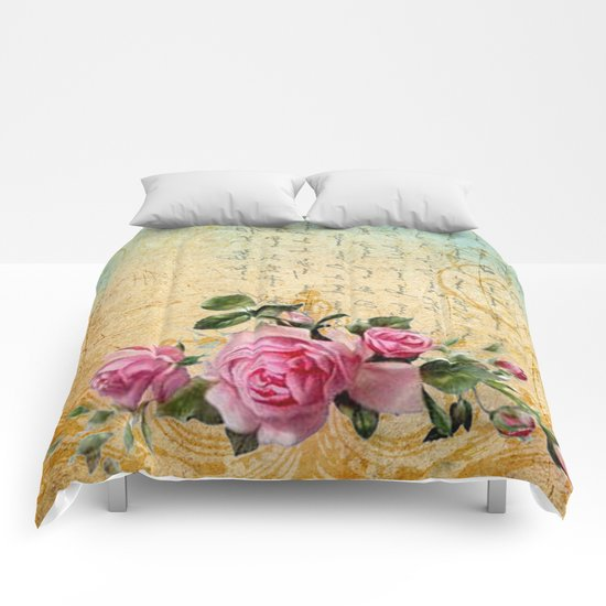 Vintage Roses #6 - Pretty Beautiful Flowers Floral Comforters