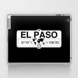 El Paso Texas Map GPS Coordinates Artwork with Compass Laptop & iPad Skin