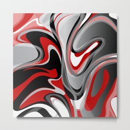 Liquify - Red, Gray, Black, White Metal Print
