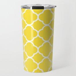 Buttercup Yellow Quatrefoil Travel Mug