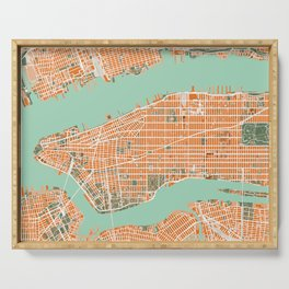 New York city map orange Serving Tray