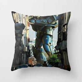 Mech behind a back alley Throw Pillow