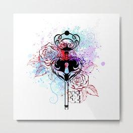 Key with Roses Metal Print