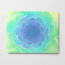 Romantic blue and green flower, digital abstracts Metal Print